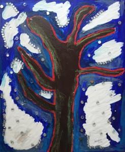 0006-alice-voglino-Inverno-Pittura-Tecnica mista-colori acrilici, pigmenti, cere acquerellabili, glitter-su tela-cm60x50