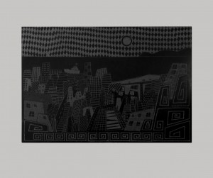 0013-Andrea-milia-città Di Stoffa Con Nave Da Crociera-incisione Su Ardesia-39x27