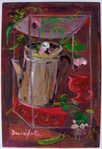 0013-Branciforte-Fiori di fave e capperi, 2013, olio e smalti su lastra di rame, cm 32 x 23