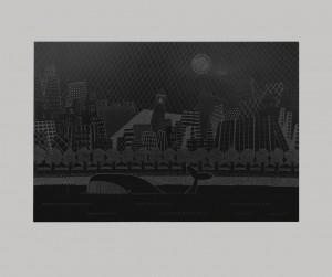 0014-Andrea-milia-città Di Stoffa Con Viale Alberato-incisione Su Ardesia-39x27