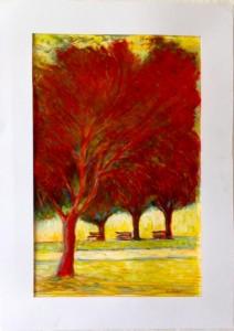 0021-Carmelo-compare-alberi Rossi Cm 50x 70 Gessetti A Olio E Smalto Graffiato Su Cartoncino Bristol