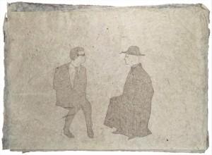 0034-Domenico-ruccia-timoroso Confronto Di Don Mario Con L'autorità-caran D'ache Su Carta Himalayana-57 X 42 Cm
