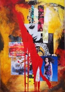 0038 Luigi Maria Feriozzi - Espressionismo astratto, pop art, tecnica mista acrilico olio e riporti mis. cm 70x100