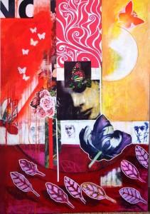0039-luigi-maria-feriozzi-espressionismo astratto,pop art,tecnica mista acrilico, sintetico gessi uniposca e riporti mis. 70x100