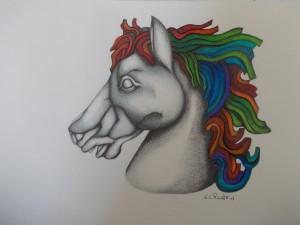 0054-Guido-coniglio-testa Di Cavallo-carboncino, Colori A Legno E Penna Su Carta-29,7x21