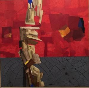 0055 - Pasquale Fraccalvieri - Rosso d'inverno-materico-argilla,carta,legno-100x100