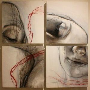 0057-roberta-zambon-Filo rosso-pittura-tecnica mista su tela-100×100