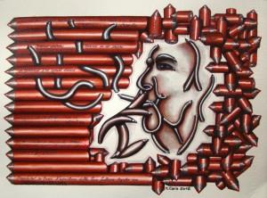 0100-Michela-cara- Alda Merini, Disordine, Ordine, Fumo E Versi-pennarelli Pantone E Matite Colorate Su Carta-28x38cm
