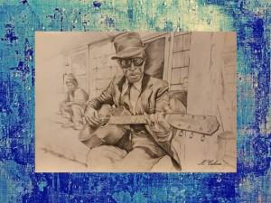 0102-Monica-celona-blue Note-grafite Su Carta Sfondo Digitale Su Tela Supporto Legno-40x60
