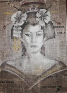 0104-Natashia-artico-elegance-carboncino E Matita Su Tela-50x70