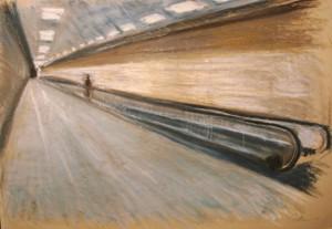 0131-Simone-butturini-aeroport, Pastello Su Carta Da Stampa, Cm 50x70cm