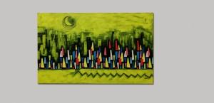 Pitt0015-Andrea-milia-città Di Notte Con Luna-acrilico Su Tovaglia Plastificata-150x92-0015
