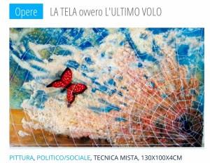Pitt0033-Carmelo-compare-l'ultimo Volo-cm 100x140, Schiuma Poliuretanica, Fili Di Spago, Cartapesta E Smalto-acrilico Su Tela-0033