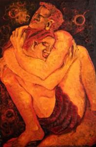 Pitt0107-Luca-atzeni-l'abbraccio-olio Su Multistrato Di Pioppo Da 8 Mm-82,5 X 125-0107