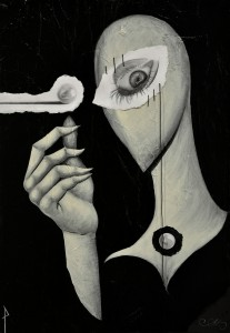 Pitt0183-Simone-zibbo-pietro-tagliabue-perle Ai Porci-acrilico Collage Grafite-materia-filo Di Cotone-ago Su Tela-50x70 Cm-0183