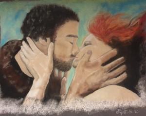 og002-alessandra prefetto Kiss me Soft pastels e matite colorate su Pastelmat 24 × 30