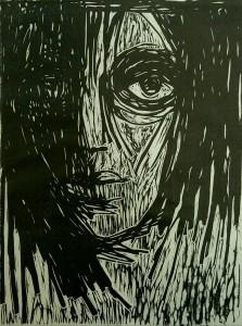 og023-Eleonora Del Giudice Malinconia in bianco eneroxlografiasulegnotulipier stampata su carta giapponese cm 24x18 anno 2018