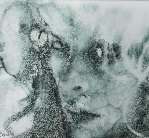 og025-elvezia cavagna Pensiero riflesso Monotipo a inchiostro e acquarello su carta 20 x 23