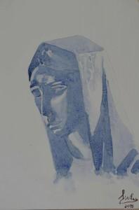 og036-federico milanese Madonna Matita ed acquerello su carta Camson 300 gr cm 21x29,7