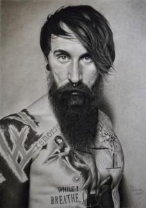 og044-Florian Prunster Tattoo Model Carbone Pierre Noire e grafite su carta 57x80