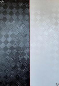 og051-gretel siri Aequilibrium 2021 olio dritto rovescio con applicazione cordino in canapa su tela 70x100x4