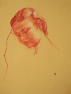 og053-iris giusi tanoni Ritratto di dama Sanguigna su carta 50x70