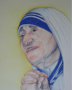 og056-liana degan Madre Teresa Biro colorata su carta 34x28