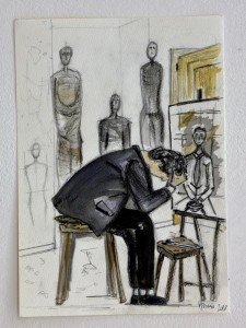 og067-marco petean Alberto Giacometti nel suo studio Tecnica mista su carta 15x18