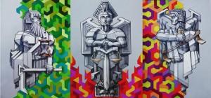 og082-Nicola Previati La scelta dell'Arcangelo Kronoso o Kairos china e acrilico su carta 90x180 cm