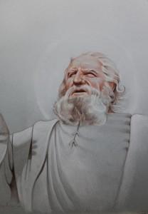 og084-omar saggiorato San Pietro omaggio a Finlay Currie pastelli a matita su carta 50x 35