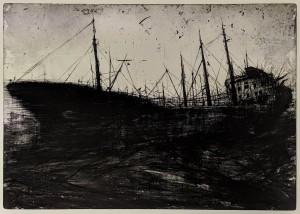 og092-Roberto Canu Pequod Acquaforte acquatinta toner su lastra di zinco 70x50 cm