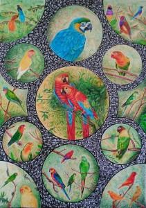 og096-salvatore piras I colori della natura numero 8 penne a sfera policrome su carta pergamena cm 70 per 50 anno 2017