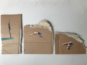 og101-Sofia Fresia Nel vuoto acrilico su cartone di recupero 70x50 cm