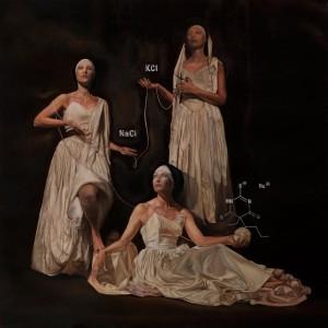 op001-agostino bergo Cloto Lachesi Atropo Thanatron olio su tela 80x80cm