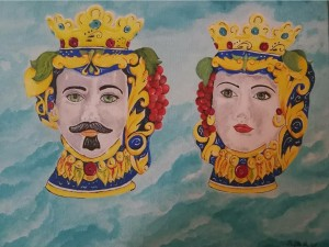 op003-alessandra prefetto I mori nei cieli azzurri di Sicilia acrilico su tela 55 x 46