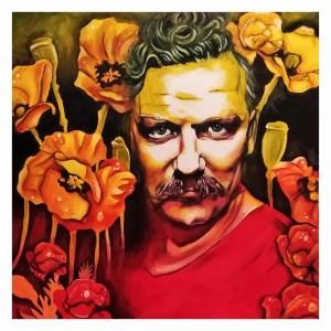 op013-anna santilli Okson wers Red passion olio su tela cm 90x90 2021