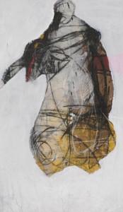 op015-annalisa filippi L'abito di piume tecnica mista su tela 134x78cm
