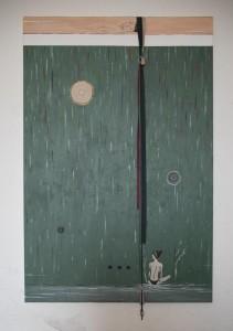 op021-barbara amadori Donna distesa davanti a una parete acrilico e olio su tela 100x150 cm