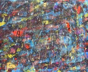 op031-cinzia inglese Falling stars acrilico olio sabbia pietre su tela 120x100