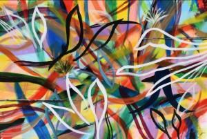 op032-cinzia inglese Tropical life acrilico su tela 150 x 100