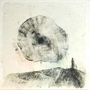op034-claudia sapienza Dialogo con la Natura olio acrilico smalto fusaggine e collage su tela 100x100cm