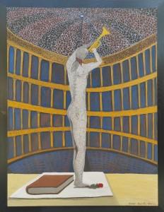 op040-dante musa Il risveglio Dipinto su tavola Terre naturali e colori acrilici 94.5 cm x 124.5 cm