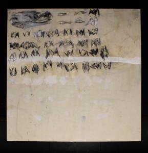 op043-davide Preda e Cacciatore graffite carboncino gesso su tela 140x140cm