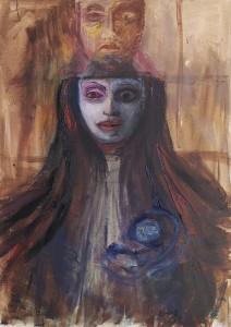 op047-eleonora del giudice Eclissi olio tempera pastelli e china su carta telata cm 70 x 50