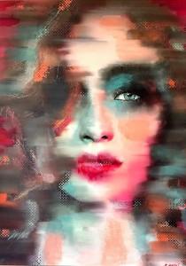 op055-enrica badas Women's faces Model 86 dipinto digitale su foto stampato su alu dibond e dipinto con acrilico 50x70