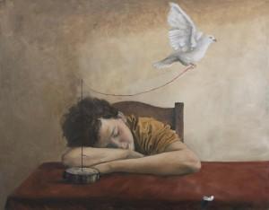 op071-giovanni merenda Il sonno dell'infanzia genera speranze olio su tela 90x70