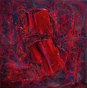 op072-giuseppe cacciatore Bloody Mary stucco edile cartone acrilico su tela 50x50 cm