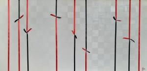 op077-gretel siri Compromessi 2021 olio dritto rovescio con applicazione nastri raso su tela 60x120x2