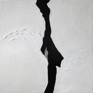 op084-liana degan Lezioni di piano Olio su tela con sabbia polvere di marmo e materiale acrilico 80x80