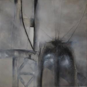 op085-liana degan Points of view Olio su tela con sabbia polvere di marmo e materiale acrilico 80x80